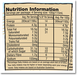Water, sugar, vegetable oils (coconut, PEANUT, sunflower), PEANUT paste and pieces (9%), glucose syrup, WHEAT flour, ALMOND paste (2%), cocoa powder, pea protein, vanilla extract, emulsifiers (sunflower lecithin, SOY lecithin), salt, raising agent (sodium bicarbonate), stabilisers (guar gum, locust bean gum), natural flavouring. May contain other nuts. Sugar, almonds, cocoa, vanilla: traded in compliance with Fairtrade Standards, total 22%ᶠ. ᶠ Visit www.info.fairtrade.net