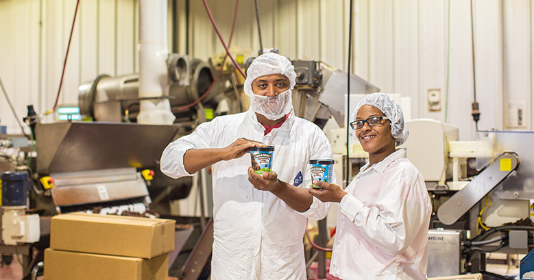 Pints of Ben & Jerry's ice cream at Greyston Bakery